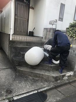 所沢市 外部コンクリート階段改修 サンダー入れ