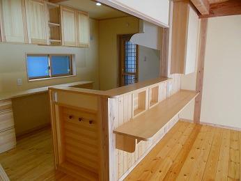 キッチン袖壁壁厚収納袋掛け