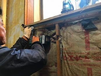 築35年キッチン出窓カウンターステンレス板下地