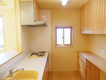 天然木リフォーム キッチン食器棚