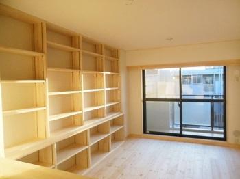 マンション 自然素材リフォーム 無垢棚板