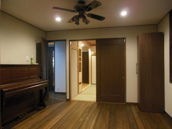 天然木リフォーム 洋室無垢床板