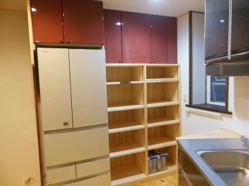 天然木リフォーム キッチン棚