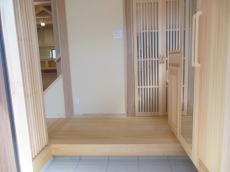 天然木の家玄関框